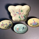 4 Chinese Enameled Brass Lot. Includes One Tray & 3 Oval Dishes. Hand painted c1940
