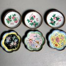 Lot 6 Chinese Dishes Enamel & Brass w/Floral Designs Hand Painted