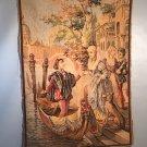 Belgium Tapestry 39x27 Wall Hanging Aubusson Hand Woven Wool c1920 Venetian Gondola