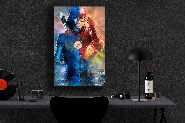 Arrow, Flash, TV Series  18x24 inches Canvas Print