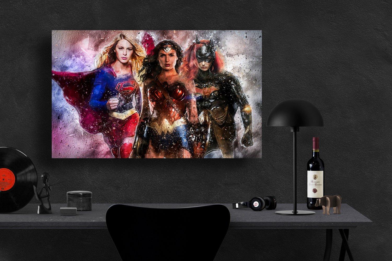 Supergirl Wonder Woman Batgirl  18x28 inches Poster Print