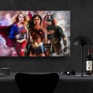Supergirl Wonder Woman Batgirl  8x12 inches Canvas Print