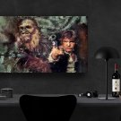 Star Wars, Han Solo, Harrison Ford, Chewbacca  8x12 inches Canvas Print