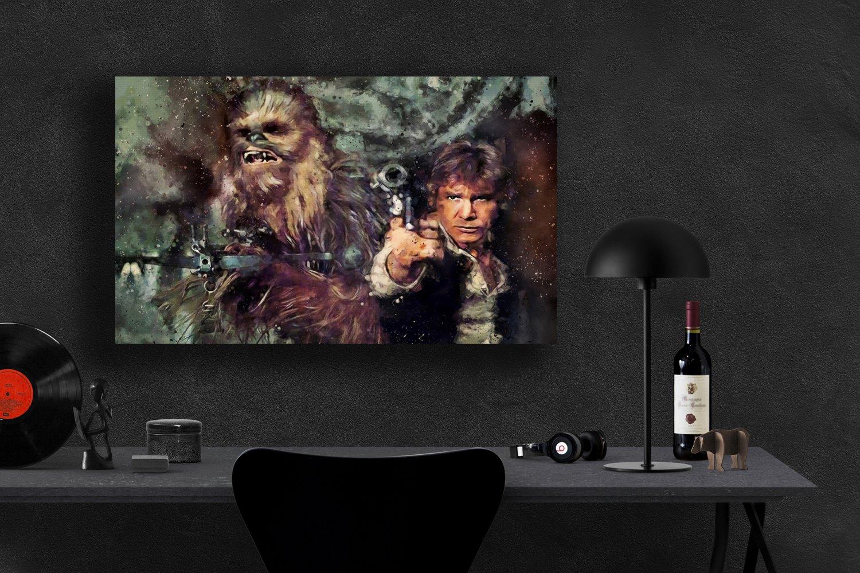 Star Wars, Han Solo, Harrison Ford, Chewbacca  24x35 inches Canvas Print