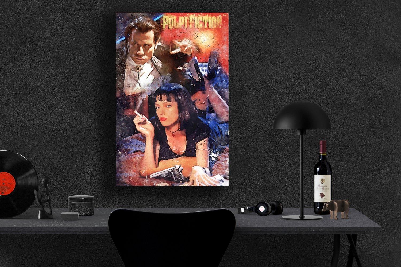 Pulp Fiction, John Travolta, Vincent Vega, Uma Thurman, Mia Wallace  24x35 inches Canvas Print