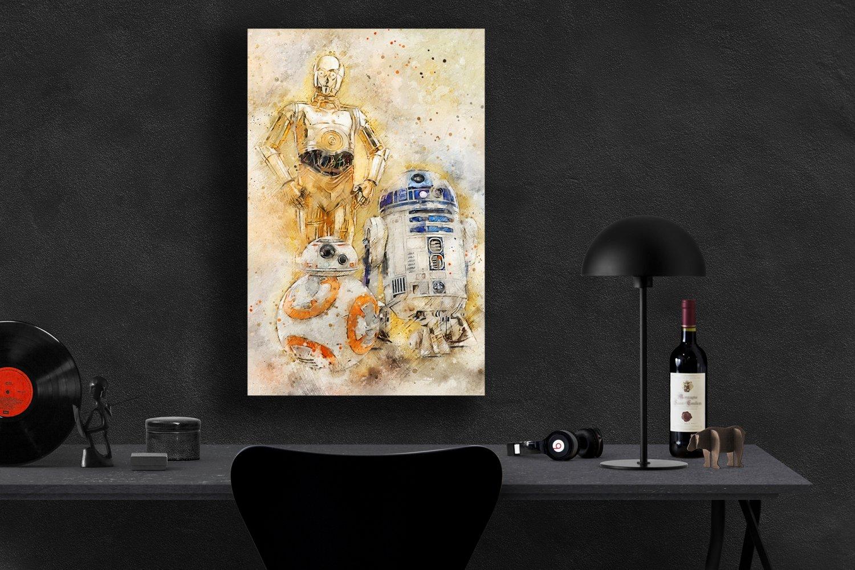 Star Wars, BB-8, C-3PO, R2-D2, Movie  8x12 inches Canvas Print