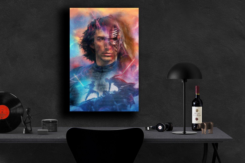 Star Wars The Rise of Skywalker, Rey, Kylo Ren, Daisy Ridley, Adam Driver  18x28 inches Canvas Print