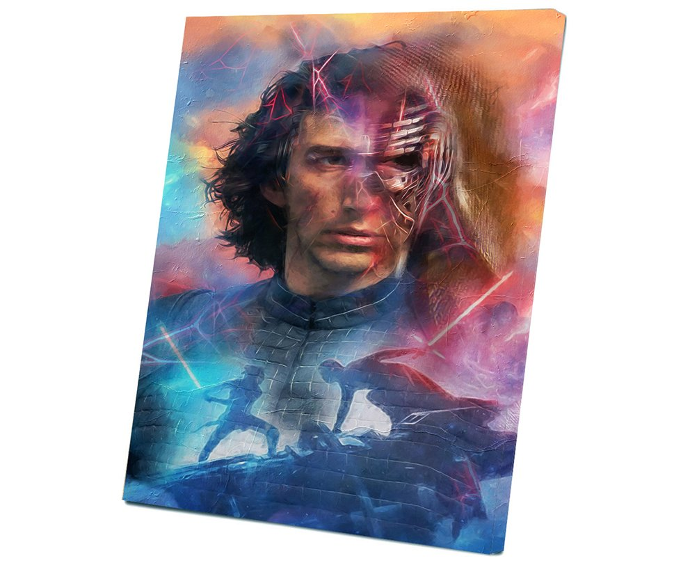 Star Wars The Rise of Skywalker, Rey, Kylo Ren,  Adam Driver  8x12 inches Stretched Canvas