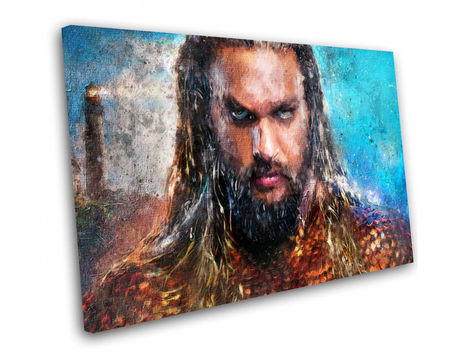 Aquaman, Jason Momoa, Movie  8x12 inches Stretched Canvas
