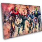 Iron Man, Captain America, Thor, Captain Marvel  14x20 inches Stretched Canvas