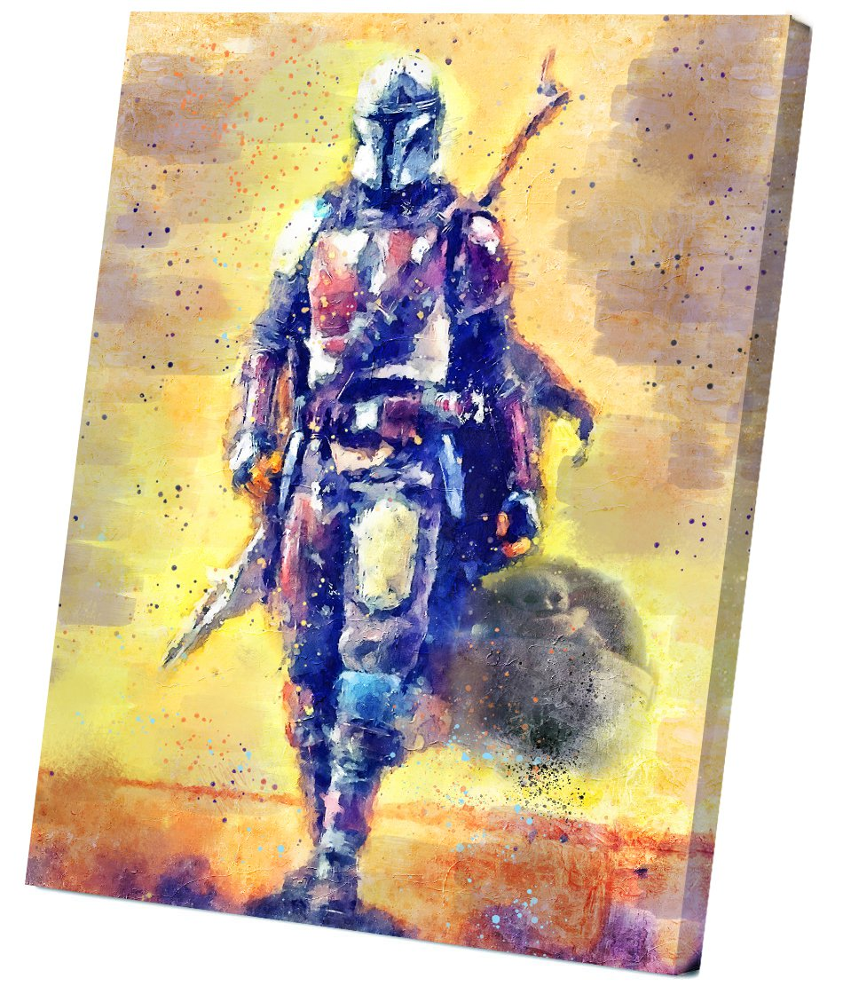 The Mandalorian, Star Wars, Pedro Pascal   14x20 inches Stretched Canvas