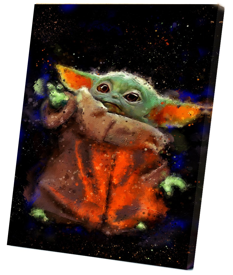 The Mandalorian, Star Wars, Baby Yoda  12x16 inches Stretched Canvas