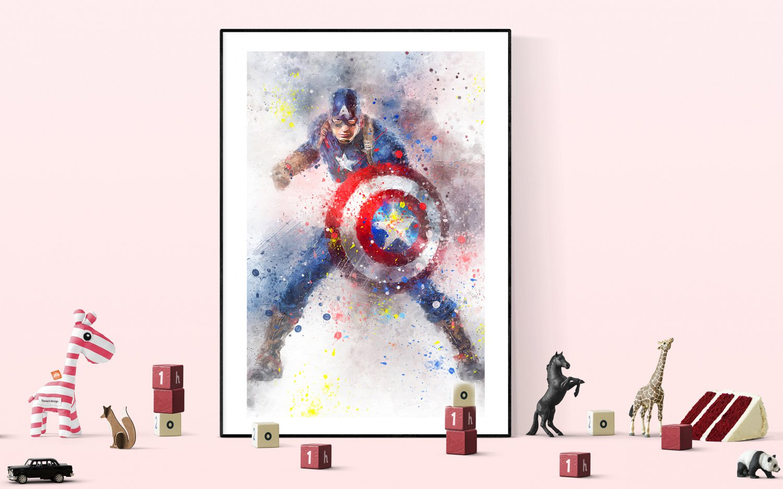 Captain America   13x19 inches Canvas Print