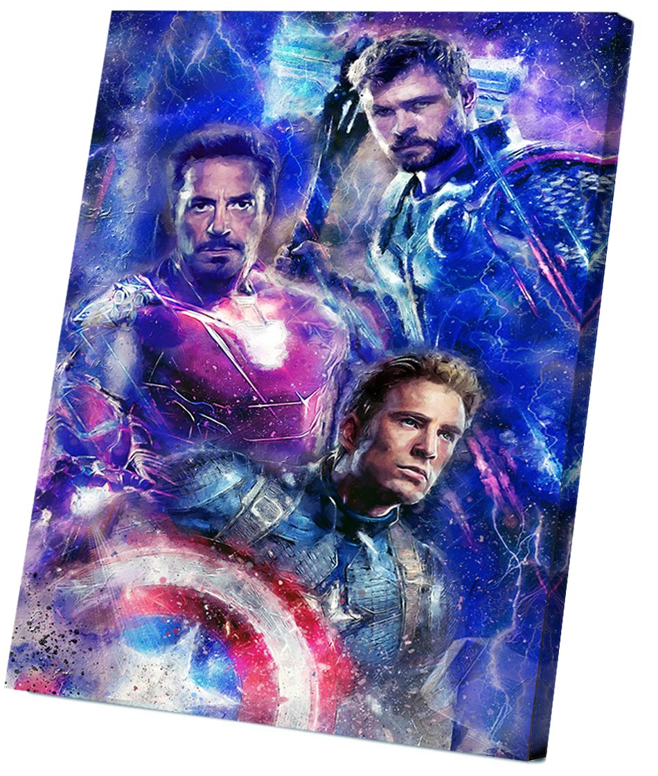 Avengers Endgame, Iron Man, Captain America, Thor 8x12 inches Stretched Canvas