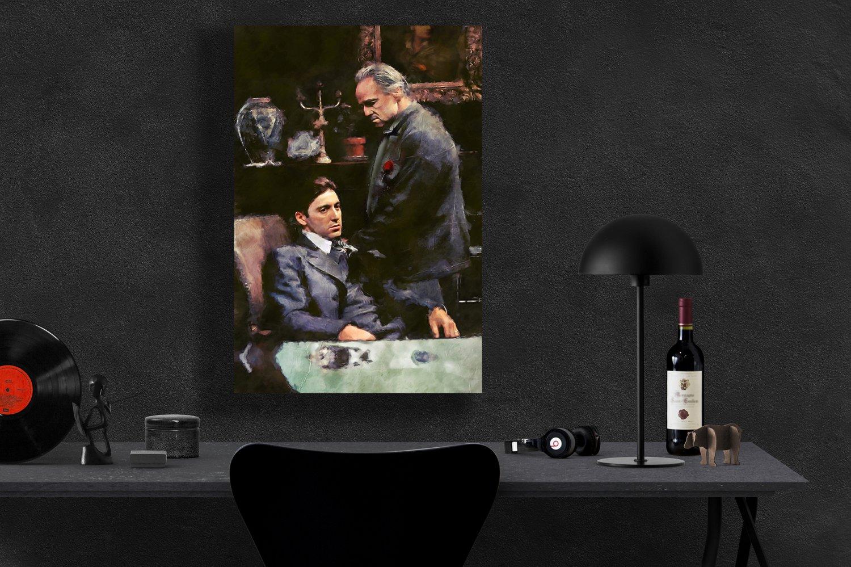 The Godfather, Vito Corleone, Marlon Brando , Al Pacino, Michael Corleone  8x12 inches Canvas Print