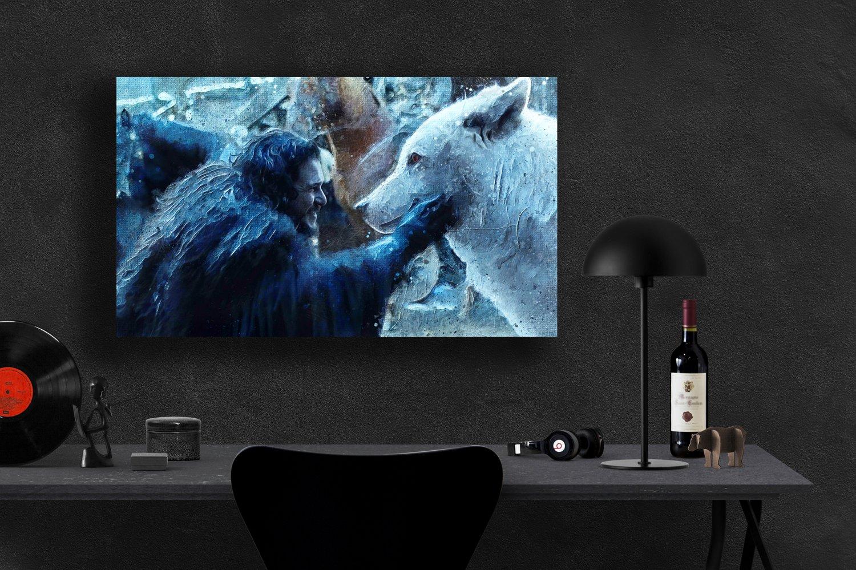Game of Thrones, Daenerys Targaryen, Emilia Clarke,Jon Snow  8x12 inches Canvas Print