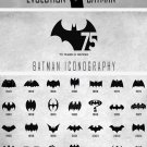 Evolution of Batman Logo Chart 18x28 inches Canvas Print