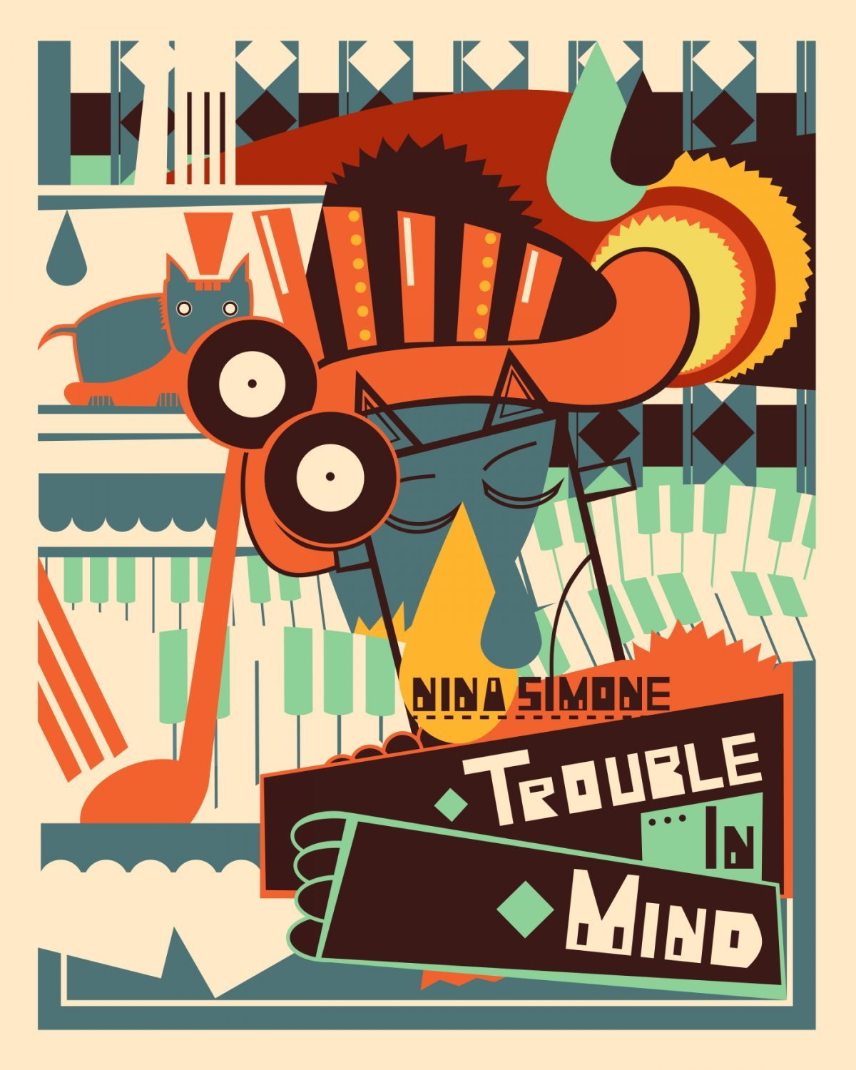 Nina Simone Trouble in Mind Vintage 13x19 inches Poster Print