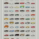 Filmography of Cars Chart  24x35 inches Canvas Print