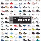 A Visual Compendium of 134 Sneakers Chart  18x28 inches Canvas Print