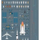 A History of Space Travel Chart   18x28 inches Canvas Print