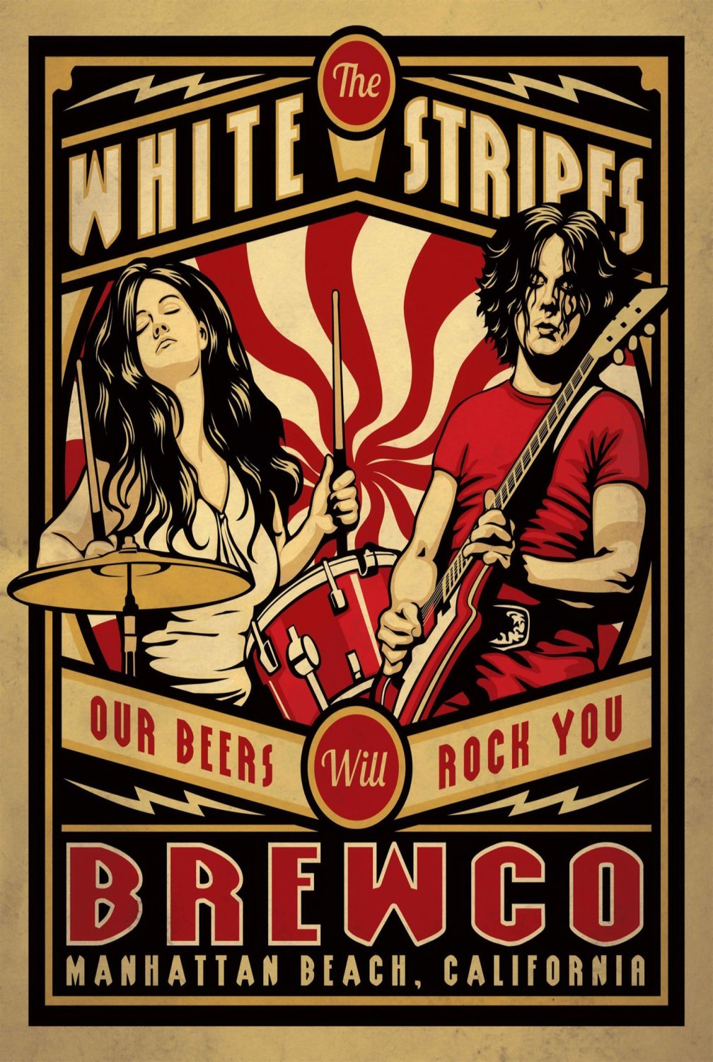 The White Stripes Our Beers Will Rock You Brewco Concert   24x35 inches Canvas Print