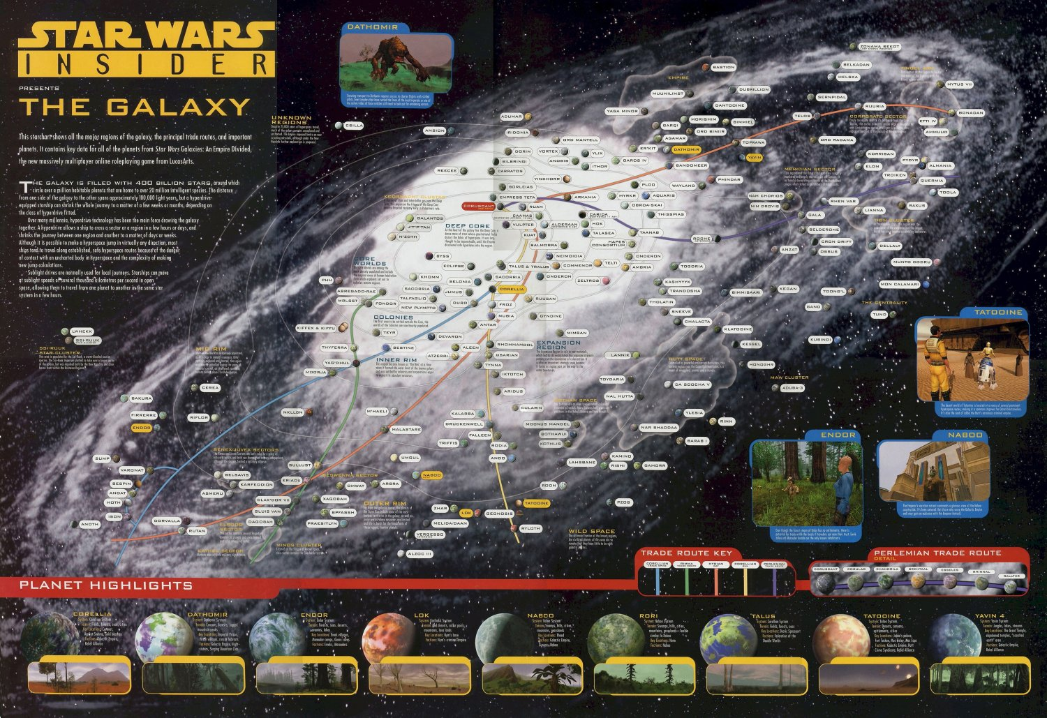 Star Wars Insider The Galaxy Chart Map  18x28 inches Poster Print