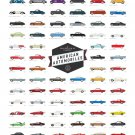 A Collection of Classic American Automobiles Chart   18x28 inches Poster Print