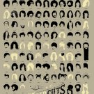 A Visual Compendium of Notable Haircuts in Popular Music Chart 24x35 inches Canvas Print