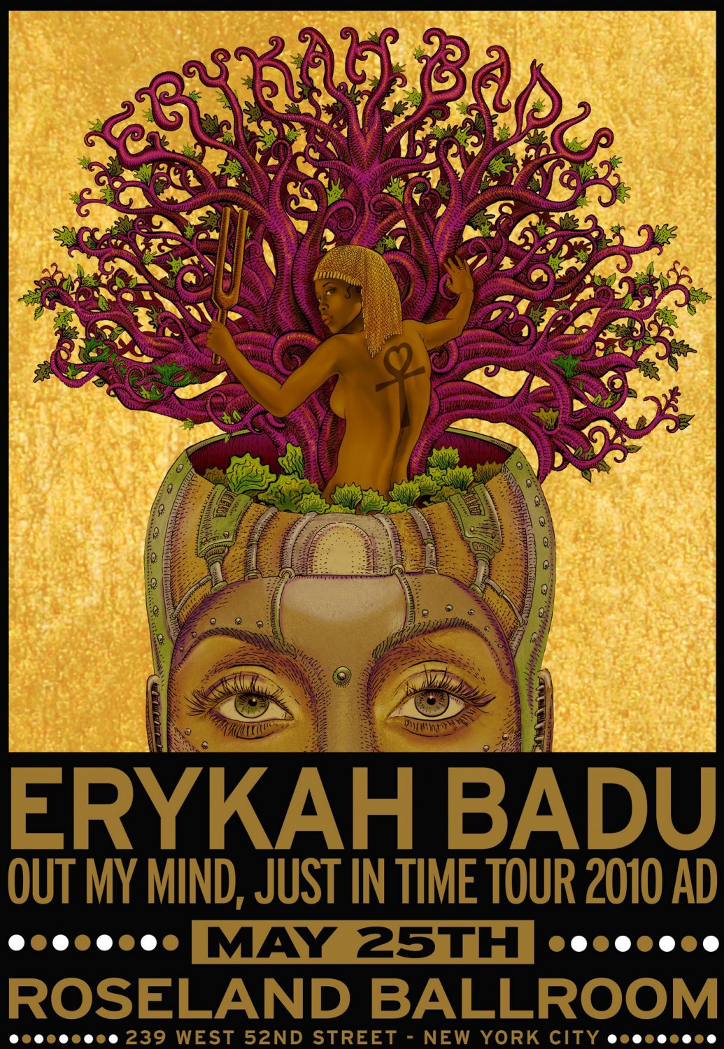Erykah Badu Out my mind Just in time World Tour Concert  18x28 inches Poster Print
