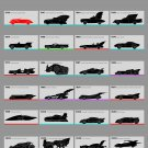 History of the Batmobile chart  18x28 inches Canvas Print