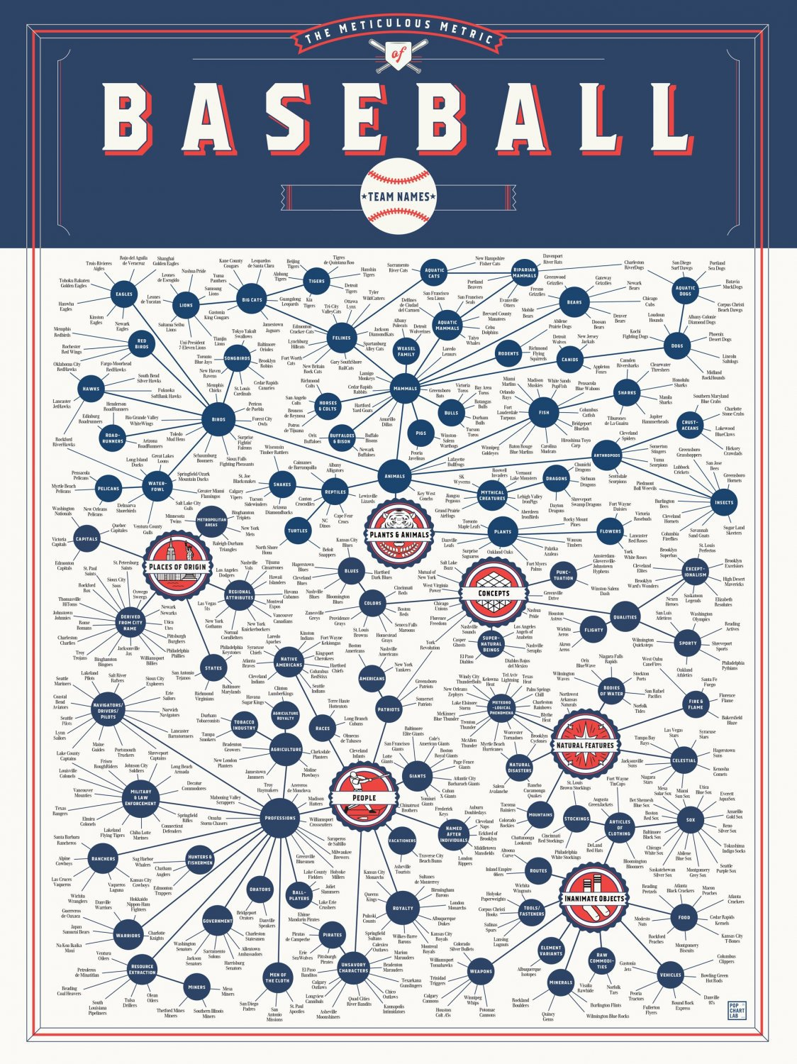 The Meticulous Metric of Baseball Team Names Chart  18x28 inches Canvas Print