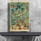 Types of Sea and Ocean Creatures, Adolphe Millot  18x28 inches Canvas Print