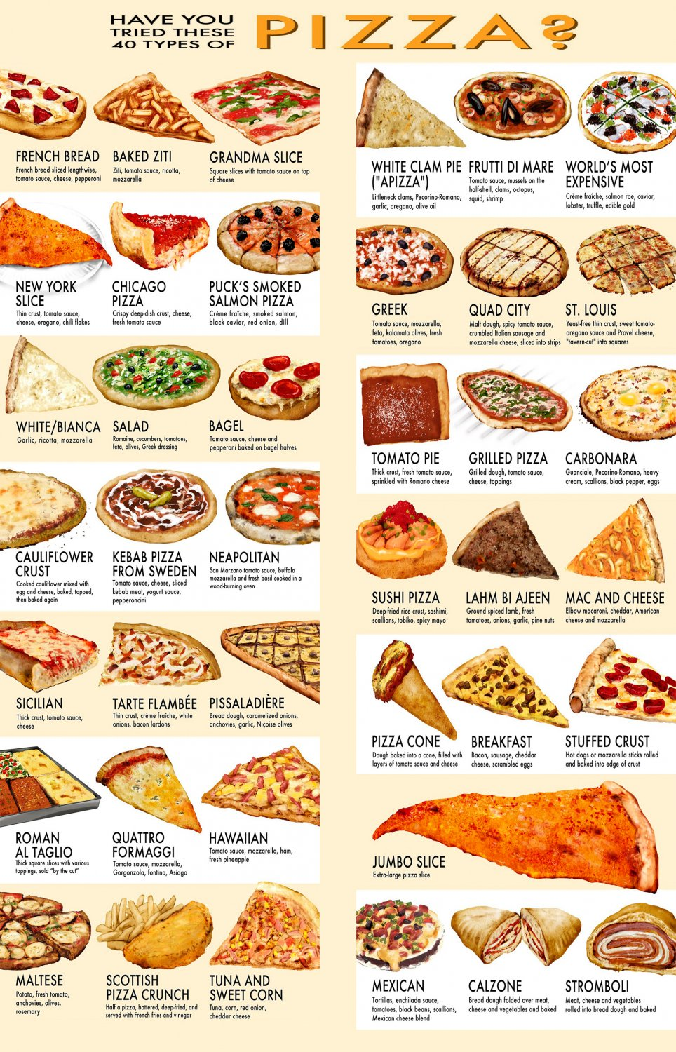 Have you tried these 40 types of Pizza Chart  24x35 inches Canvas Print