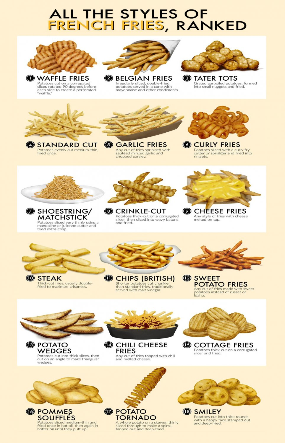 All the styles of French Fries Ranked Chart  24x35 inches Canvas Print