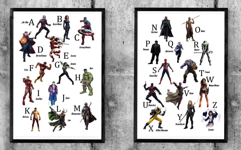 Alphabet, Superhero and Villain, Avengers Endgame, Iron Man, 18x28 inches Bundle of 2 Posters