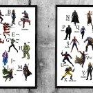Alphabet, Superhero and Villain, Avengers Endgame, Iron Man, 18x28 inches Bundle of 2 Canvases