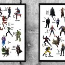 Alphabet, Superhero and Villain, Avengers Endgame, Iron Man, 24x35 inches Bundle of 2 Canvases