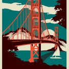 San Francisco Retro Vintage Skyline The City By The Bay  18x28 inches Poster Print