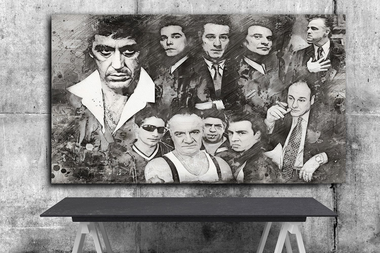 Goodfellas , The Godfather ,Scarface ,The Sopranos ,Mafia  24x35 inches Canvas Print