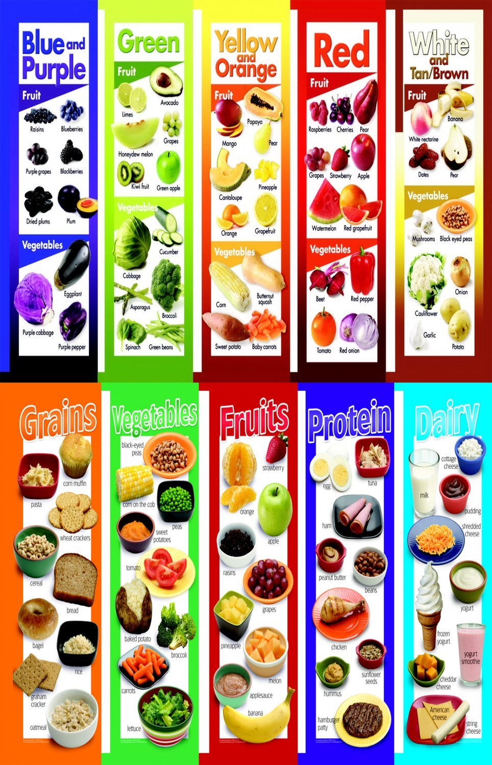 Colored Fruits and Vegetables Grains Protein Dairy Chart   18x28 inches Canvas Print