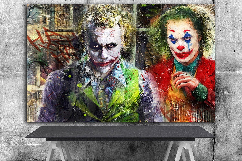 The Joker, Heath Ledger , Joaquin Phoenix ,Arthur Fleck  18x28 inches Canvas Print