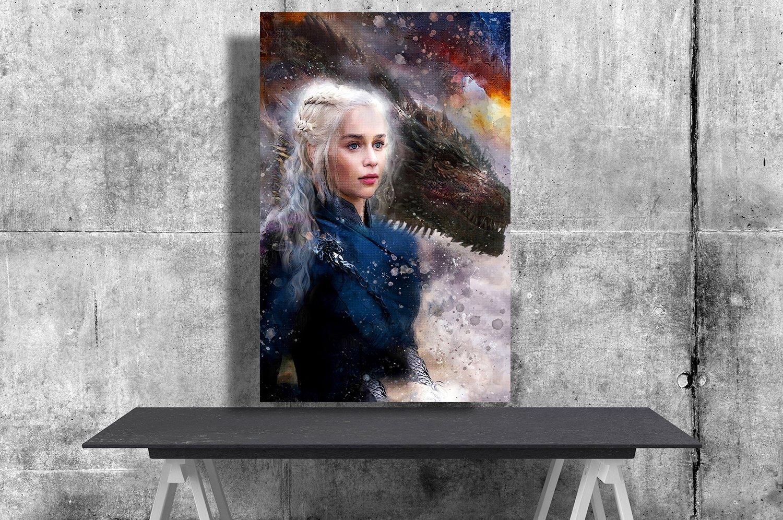 Game of Thrones, Daenerys Targaryen, Emilia Clarke  24x35 inches Canvas Print