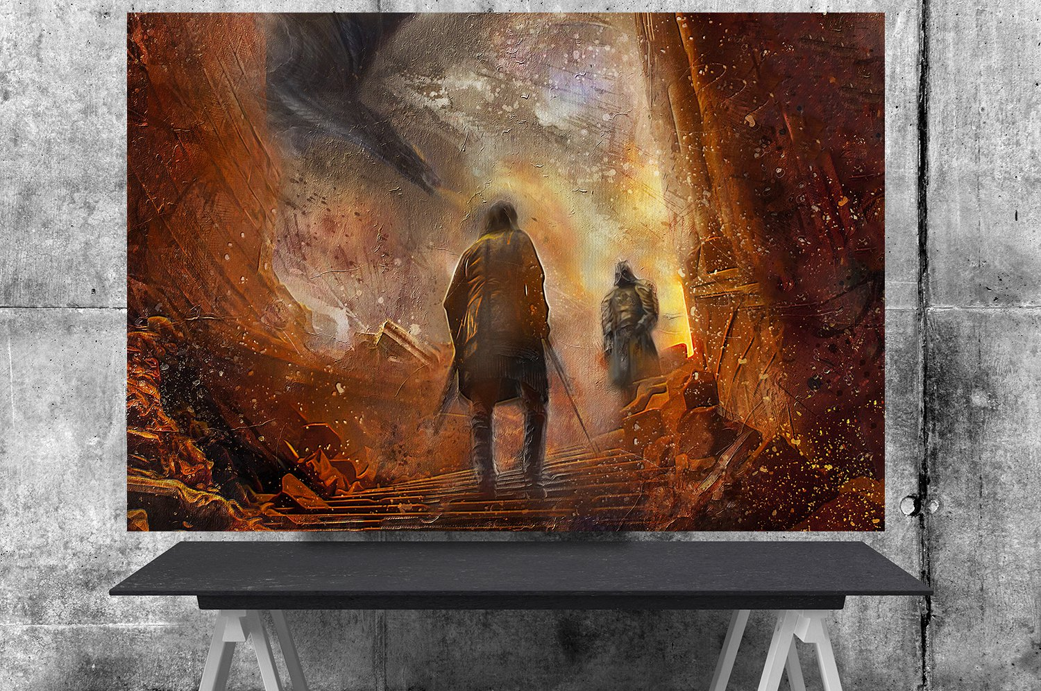 Game of Thrones, The Hound, The Mountain, Cleganebowl, 24x35 inches Canvas Print