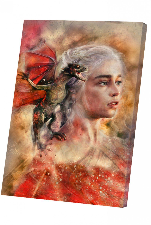 Game of Thrones, Daenerys Targaryen, Emilia Clarke  14x20 inches Stretched Canvas