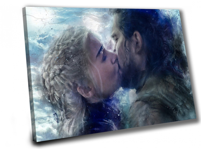 Game of Thrones, Daenerys Targaryen, Emilia Clarke,Jon Snow  14x20 inches Stretched Canvas