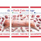 The Pork cuts range chart  12x24 inches Stretched Canvas Bundle of 3