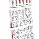 No-equipment Ab Exercises Workout Chart   11x22 inches Stretched Canvas Bundle of 3