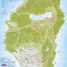 Grand Theft Auto 5 Los Santos County Map 24x35 inches Canvas Print