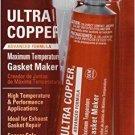 Permatex 81878 Ultra Copper Maximum Temperature RTV Silicone Gasket Maker, 3 oz.